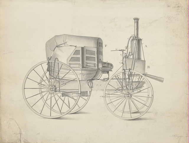 Steam automobile design circa 1845