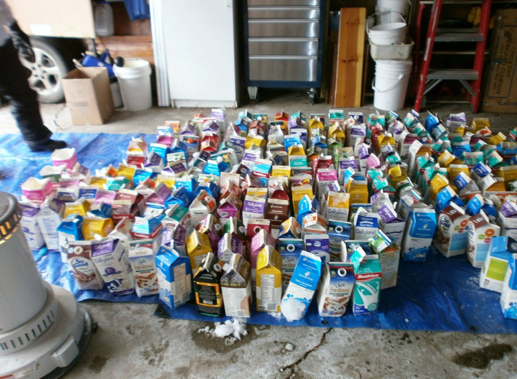 All of the colorful milk cartons used in preparation.