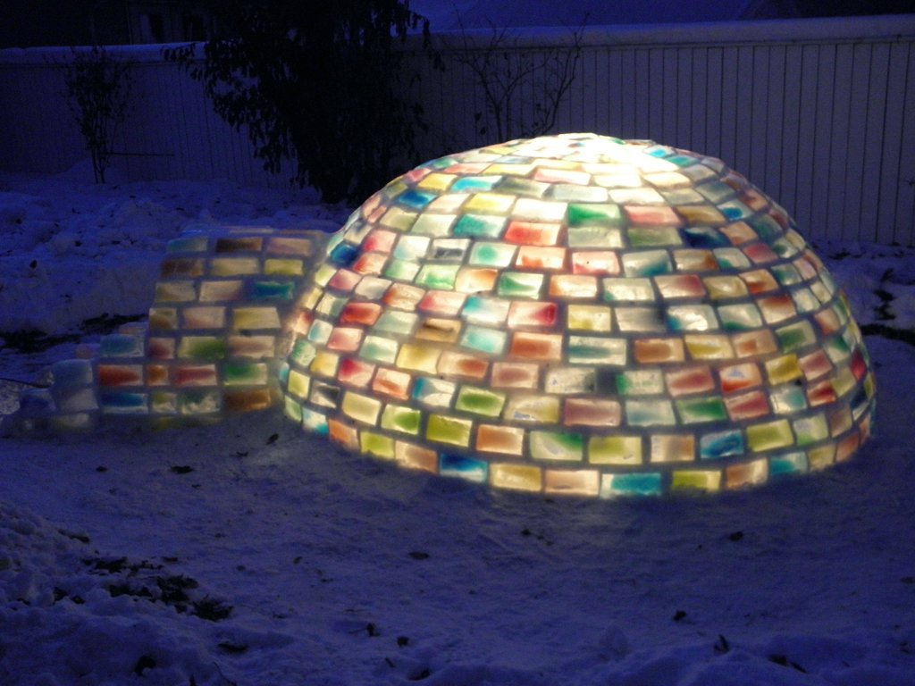 And at last, the incredible multi-colored igloo built from snow and milk carton blocks.