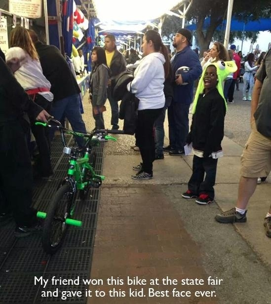 When this person gave his bike away to a little kid.