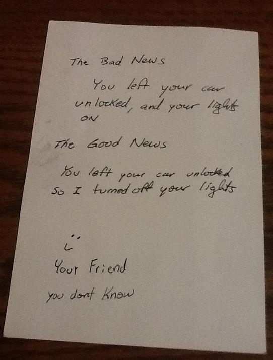 This new friend's note.