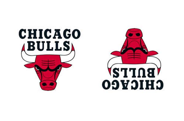 2. If you flip the Bulls' logo upside down, it looks like a robot reading a book.