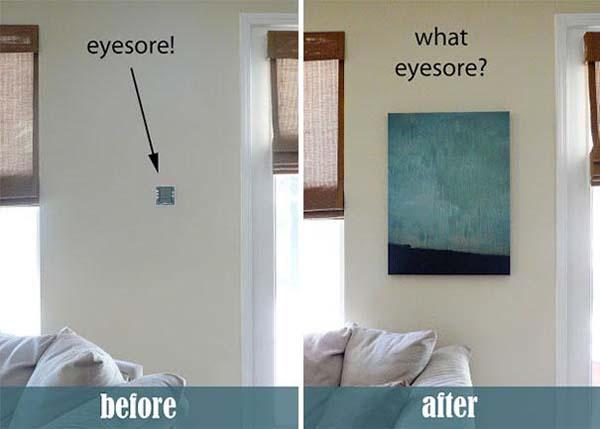11.) Hide eyesores with paintings.