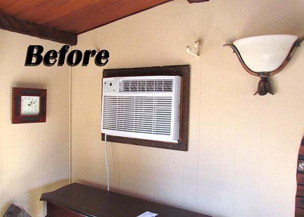 2.) Hide your AC unit behind a wall hanging or helpful chalk board.