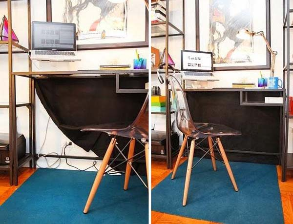 4.) Use a desk curtain to hide messy cords.