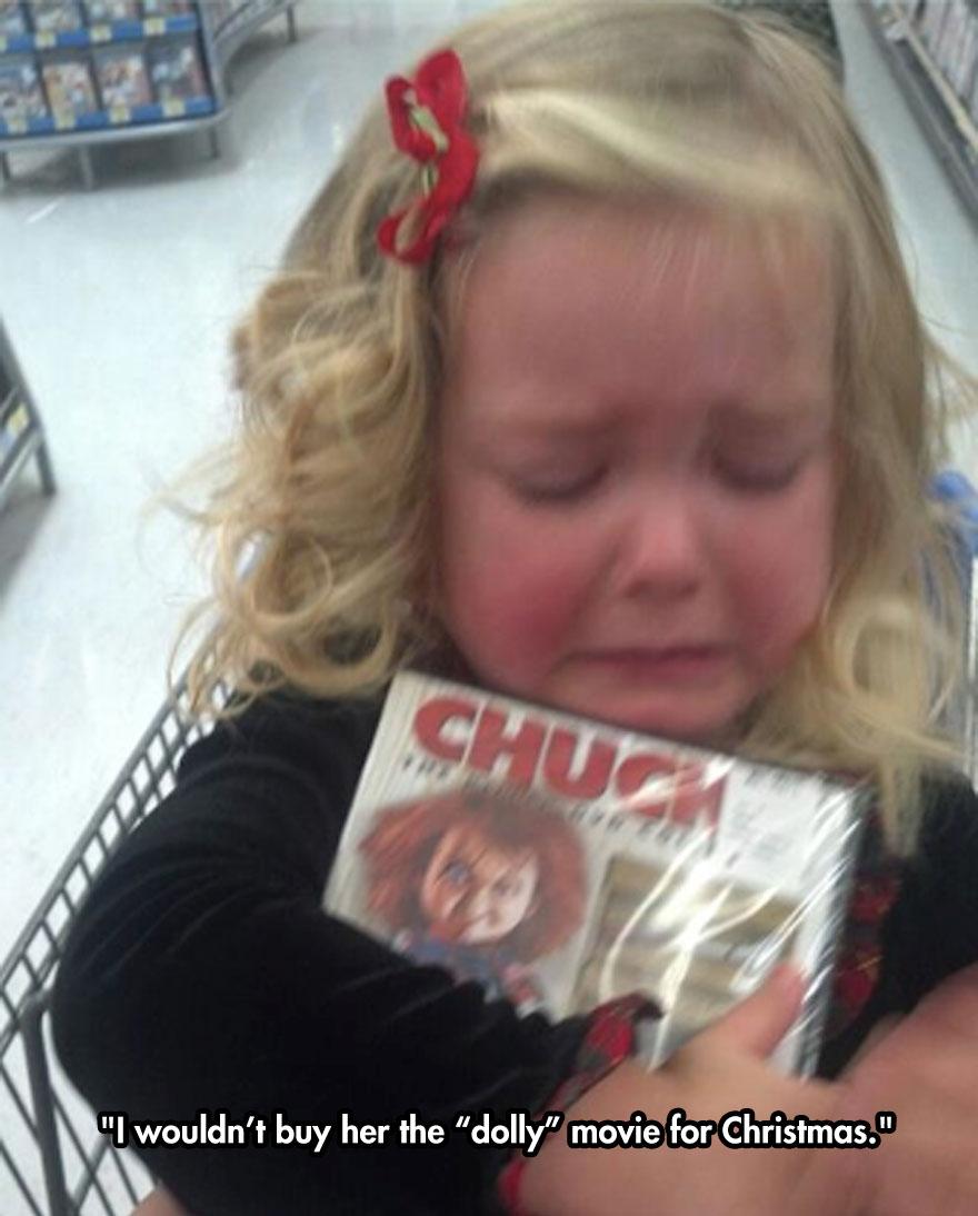 funny-girl-crying-Chucky-movie-supermarket-DVD