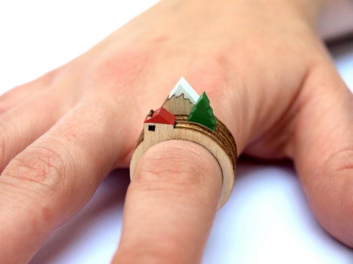 Landscape Wooden Ring