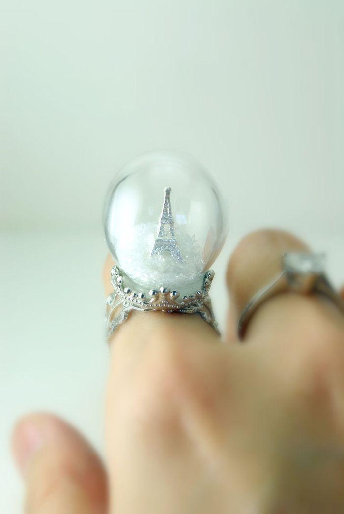 Winter In Paris Ring - Snow Globe - Eiffel Tower Ring